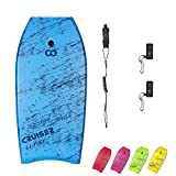 WOOWAVE Bodyboard 36-inch/41-inch Super Lightweight Body Board with Premium Coiled Wrist Leash, Swim Fin Tethers, EPS Core and Slick Bottom, Perfect Surfing for Kids Teens and Adults(41 inch, Blue)