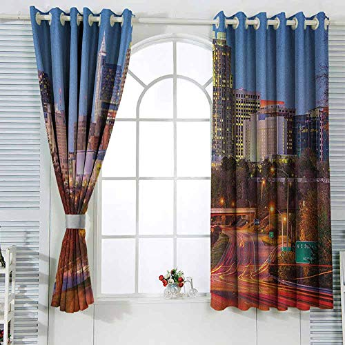 SONGDAYONE Soundproof Curtain United States Protective Furniture Raleigh North Carolina USA Express Way Business District Building Skyscrapers (2 planels,W63 x L45) Multicolor (Furniture Carolina North Raleigh)