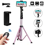 PEYOU Selfie Stick Tripod, 54'' Extendable Tripod Stand for Phone and Camera with Unversal Phone Holder and Bluetooth Remote Compatible for iPhone 11 Pro Xs Max Xr X 8 7 6 Plus & Android Phone, Bonus an Adapter for GoPro