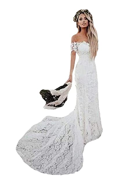 Wzw Boho Lace Wedding Dresses 2019 Country Style Off The Shoulder Bridal Dresses Beach Wedding Gowns Sweep Train