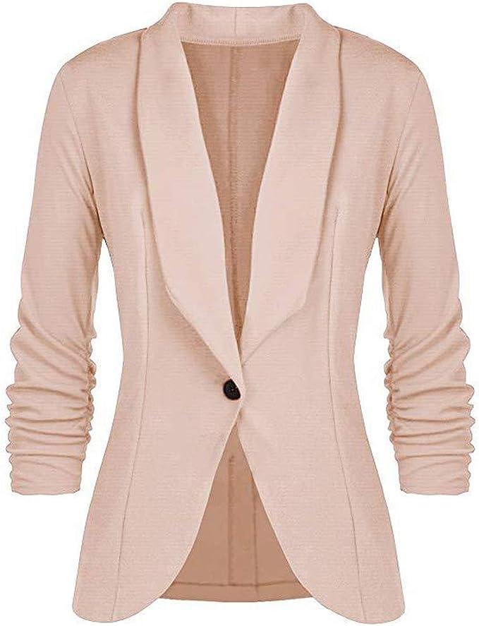 FRAUIT-Frauen Top Damen OL Stil Dreiviertel Sleeve Blazer Anzug Jacke Elegante Schlanke Mantel Kurz Parka