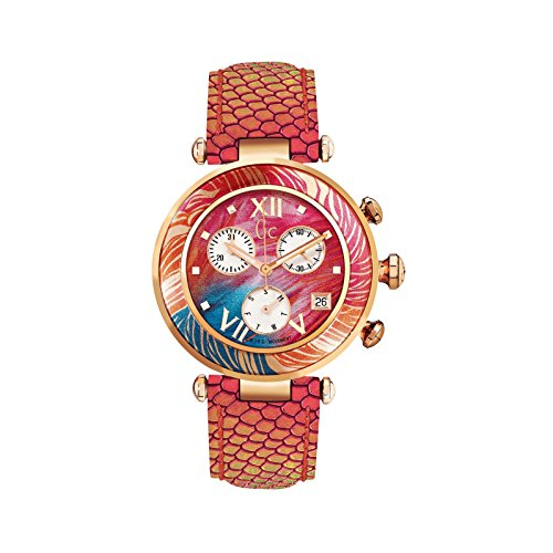 Guess Collection Women's Gc LadyChic 36.5mm Multicolor Leather Band Steel Case Quartz Watch Y05011M3