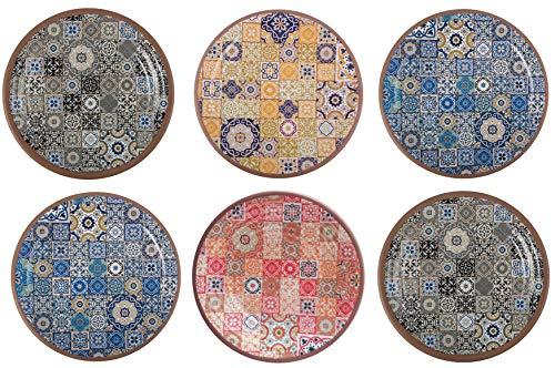 (Melange 6-Piece 100% Melamine Dinner Plate Set (Moroccan Tiles)   Shatter-Proof and Chip-Resistant Melamine Dinner Plates   Color:)