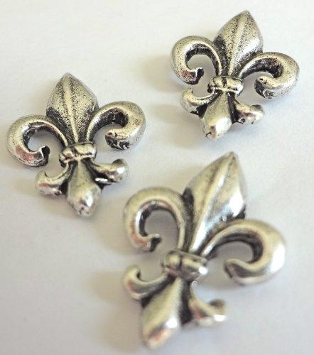 """15 Pieces Antique Silver """" Decorative FLEUR de LIS"""" Push Pins T-875AS"""