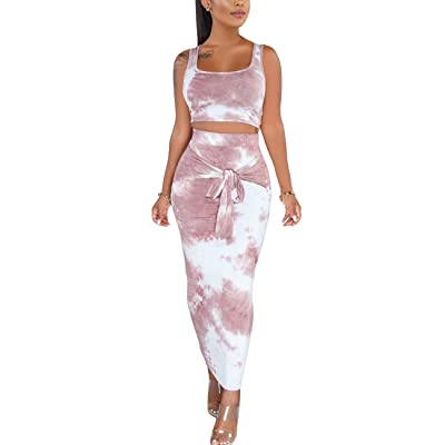 Rela Bota Women's 2 Piece Outfits Summer Mesh Crop Top and Skirt Set Bodycon Clubwear: Clothing