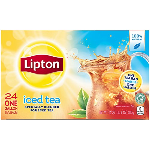 (Lipton Unsweetened Iced Tea Black 1 gal yield 24 count, Pack of 4)