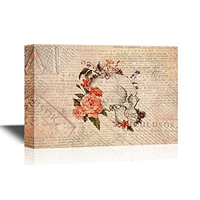 Unbelievable Print, With a Professional Touch, Skull Series Skull with Flowers on Vintage Newspaper Background