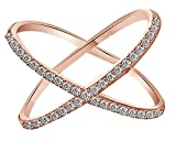 White Natural Diamond Criss Cross ''X'' Fashion Ring In 14k Solid Rose Gold (0.26 Cttw) Ring Size - 4.5