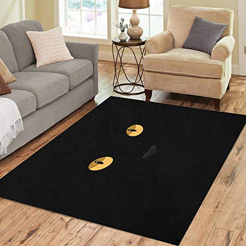 Pinbeam Area Rug Orange Halloween Cat Eyes on Yellow Black Abstract Home Decor Floor Rug 2' x 3' Carpet]()