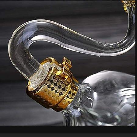 KEKEYANG Decantador de vinos, Forma de Vaca Decantador de Whisky, 100% Hecho a Mano Vino Rojo Aerador Decantador Llegador Línea de Cristal Libre CHARAFE Licorera (Color : Cattle, Size : 1000ml)