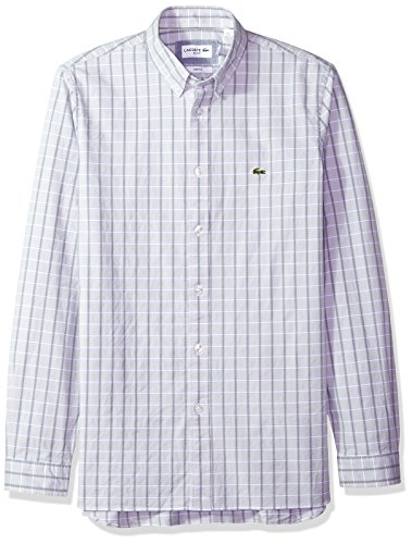Lacoste Mens Long Sleeve Oxford Check Button Down Collar Slim Woven Shirt, CH4998