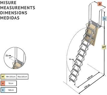 Mister Step UP Escalera escamoteable tipo tijera para altillos y ...