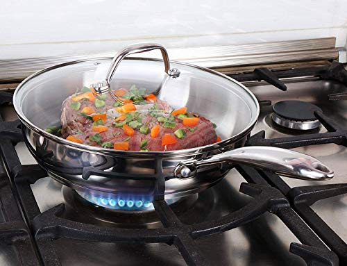 Stainless Steel Skillet with Glass Cover - 12 Inch - Induction Compatible - 30 x 6.8 cm - Multipurpose Use for Home Kitchen or Restaurant