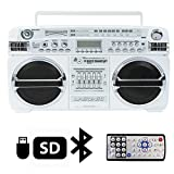 White LASONIC i-931BTQ Ghetto Blaster USB SD Portable Boombox+Wireless Bluetooth