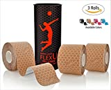 FlexU - SKIN TONE KINESIOLOGY TAPE; Super Saver 3 Roll Pack; 60 Pre-Cut 10 Inch Strips; Hypoallergenic Longer Lasting Pro Grade Synthetic Therapeutic Recovery Athletic Wrap Tape