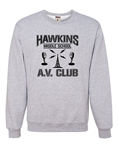 School Crewneck Sweatshirt (Medium Athletic Heather Adult Hawkins Middle School AV Club Sweatshirt)