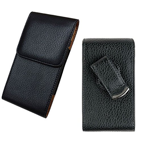 5 Vertical Leather Pouch (Samsung Galaxy Note 8 / S8 Plus / S7 Edge / Note 5 / J7 / On5~Plus Size Pouch Vertical Black/Brown Faux Leather Carrying Case Swivel Belt Clip Holster[Great Fits With Protective Cover Skin Case])