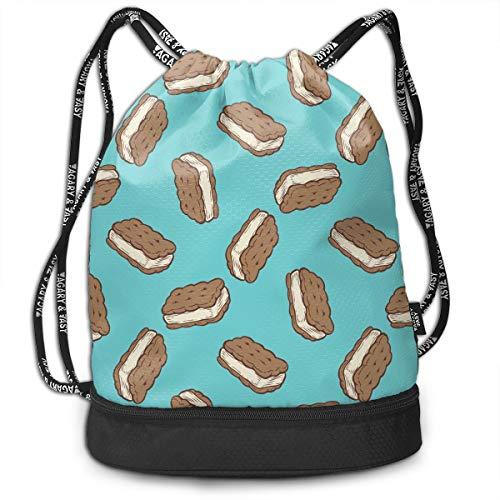 YyTiin Ice Cream Sandwich Unisex Waterproof Drawstring Backpack Sports Dance Storage Bags Sackpack Gym Traveling Outdoor Dog Ice Cream Sandwiches
