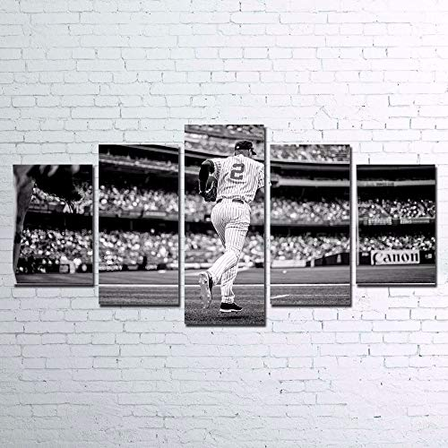 NATVVA Canvas Paintings Wall Art Prints Home Decor 5 Pieces Baseball Player Pictures for Living Room Modular Sports Poster