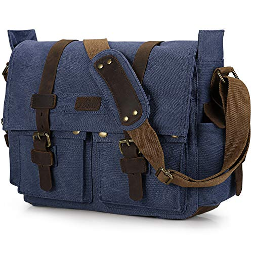 (S-ZONE Vintage Canvas Genuine Leather Trim DSLR SLR Camera Shoulder Messenger Bag (Blue) )