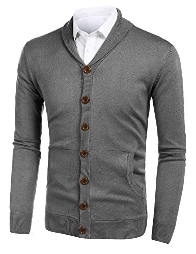 Jersey V-neck Cardigan - Misakia Men's Unisex V-Neck Jersey Knit Two Pocket Cardigan (Gray M)