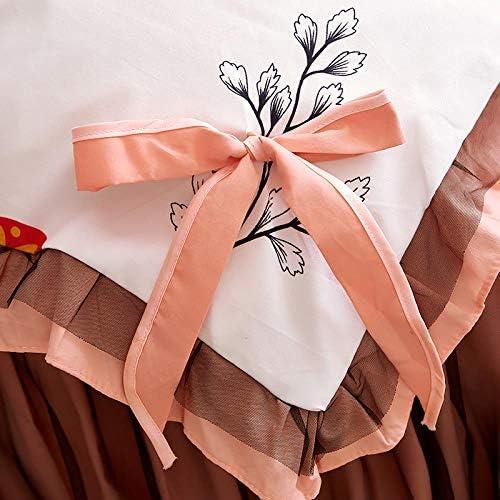 LDDPP Parure de lit Queen en dentelle brossée noire 4 pièces Style princesse Doudou confortable Parure de lit Soyeux et douce
