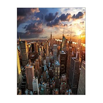 office canvas art. Creative Beautiful Modern Abstract Artwork Canvas Wall Art - New York City Dawn Skyscrapers Cityscapes Architecture Office