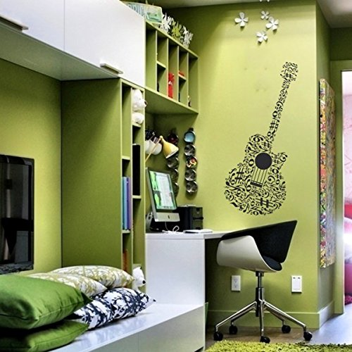SCOOPTOUR WALL ART Guitar Music Wall Decal Musical Notes Sticker for Bedroom Dormitory Decoration(Large,Black)