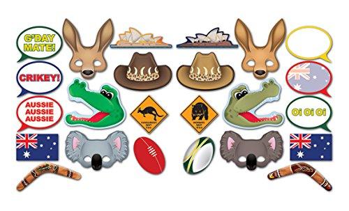 "Beistle 54953 24 Piece Australian Photo Fun Signs, 6.5"" to 11"", Multicolored"