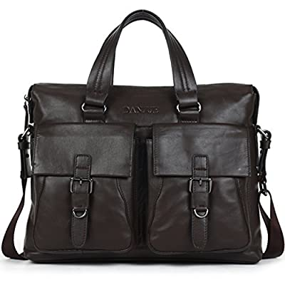 on sale DANJUE Leather Briefcases Brown Stylish Formal Mens Messenger Bag  with Laptop Compartment Business Shoulder 2be073b79808b