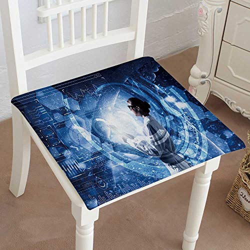 Mikihome Indoor/Outdoor All Weather Chair Pads Innovative Technologies in Science and Medicine Mixed Media Seat Cushions Garden Patio Home Chair Cushions ()
