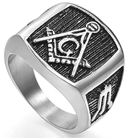 Retro Vintage Stainless Steel Masonic Ring Size 7-15 (5) (Vintage Ring Size 5)
