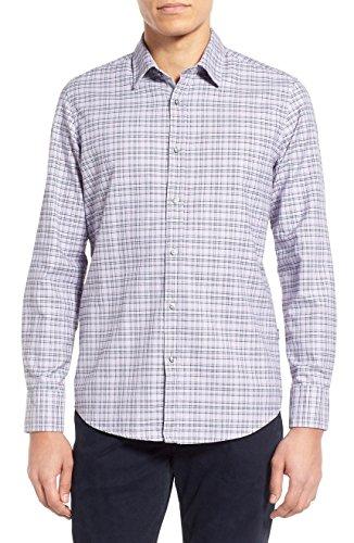 BOSS Hugo Boss Men's 'Lukas' Regular Fit Plaid Oxford Sport Shirt Gray - Hugo Boss Junior