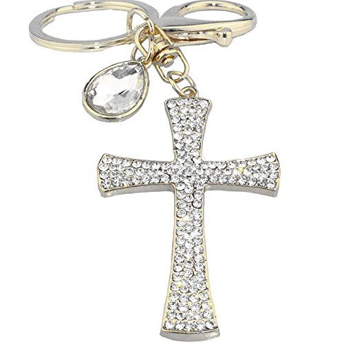 Jzone 3D Cross Shape Stainless Alley Metal Bling Crystal Rhinestone Key Chain Ring Keychain Cell Phone Car Charm Decoration Pendant Ornament (Cross Pendant Key Ring)