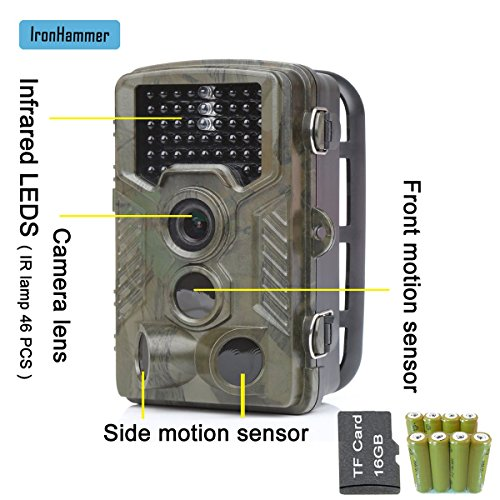 Hunting Camera Game Scouting Camera 12MP 1080P Detection Range 25m Night Vision 20m IP56 Waterproof 2.4 Inch TFT LCD Display