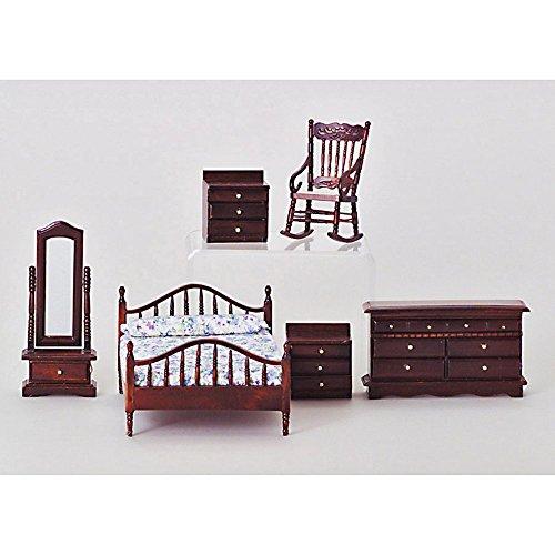 Mahogany Master Bedroom Dollhouse Miniature Set