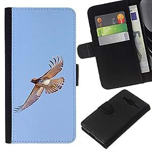 Planetar® Modelo colorido cuero carpeta tirón caso cubierta piel Holster Funda protección Samsung Galaxy Core Prime ( Hawk Flight Birds Blue Sky Wings Nature )