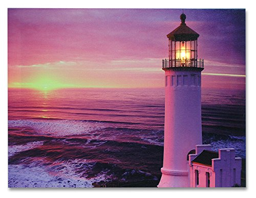 BANBERRY DESIGNS Light House Wall Art - Nautical Beach Themed LED Lighted Canvas Print - Sunset and Ocean Picture 16