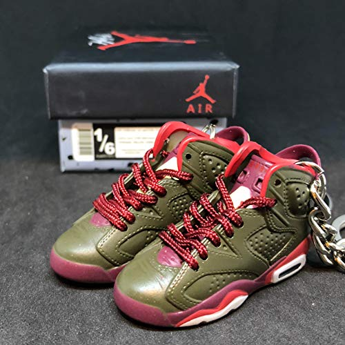 Pair Air jordan VI 6 Retro Cigar Champagne Championship Pack Sneakers + Shoe BoxShoes 3D Keychain 1:6 Figure