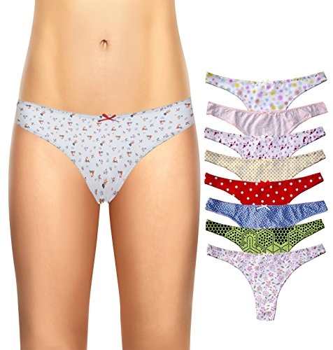 Cotton Whisper Women's 8 pack Low-Rise Thong Brief Panties Vary (Low Rise Panty Set)