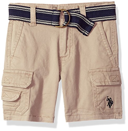 U.S. Polo Assn. Boys' Toddler Short, Belted Cotton Stretch Twill Light Khaki, 4T (Stretch Belted Cotton)