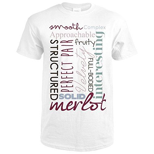 Merlot Framed - Merlot Typography - White Background (Premium White T-Shirt Large)