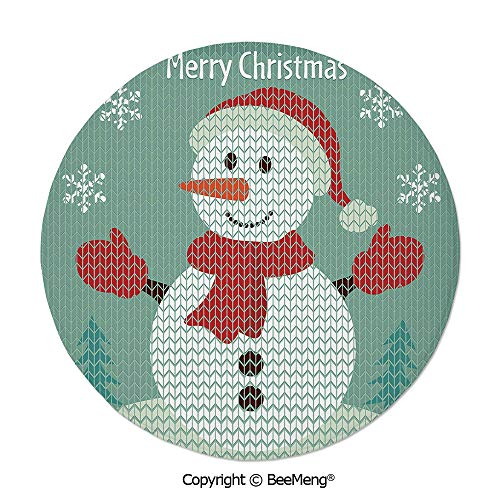 Diameter24 inch,Printing Round Rug,Mat Non-Slip Soft Entrance Mat Door Floor Rug Area Rug For Chair Living Room,Snowman,Traditional Holiday Cute Greeting Snowman Snowflakes Pine Trees Cheerful Decorat