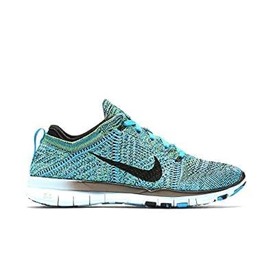 Nike Womens Free Training Flyknit Running Shoes, Blue Lagoon/Black-copa 8