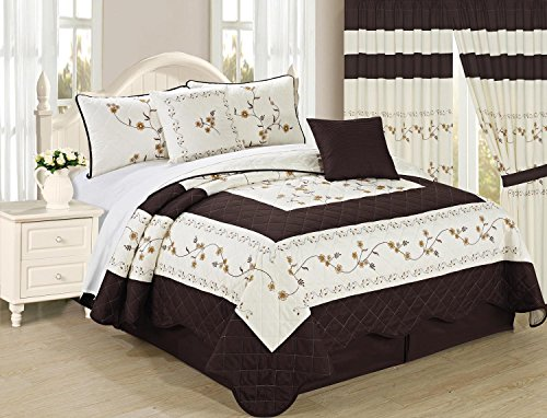 All American Collection New 6pc Embroided Floral Bedspread/Quilt Set (King Size, Coffee)