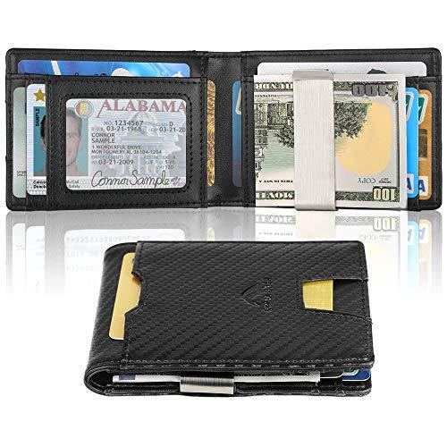 Money Clip Wallet Slim Front Pocket Wallet For Men RFID Blocking Cards Holder Wallets Billfold Men Wallets with Gift Box (Carbon) ()