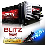 OPT7 Blitz 35w S2 9005 HID Kit - Relay Bundle - All Bulb Sizes and Colors - 2 Yr Warranty [10000K Deep Blue Xenon Light]