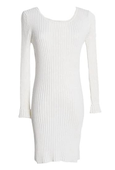 bdd58dce3dd7a Bigood Pull Long Femme Tricot Robe Moulante Sweater Col Rond Manches Longues  Blanc