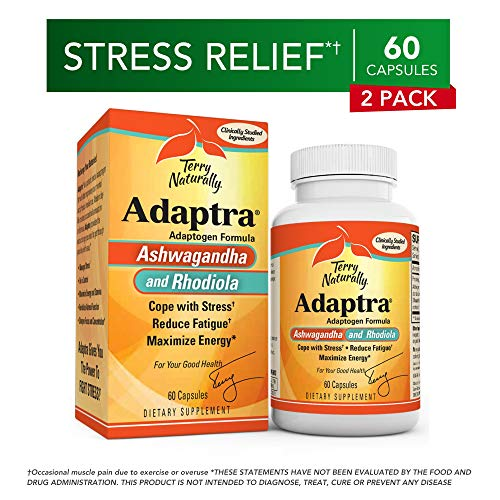 Terry Naturally Adaptra (2 Pack) - 60 Capsules - Ashwagandha & Rhodiola Supplement, Helps Reduce Fatigue, Manage Stress - Non-GMO, Gluten-Free - 120 Total - Fatigue Reduce