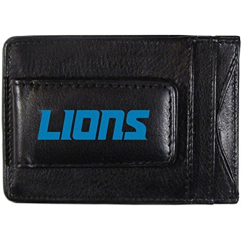 Siskiyou NFL Detroit Lions Logo Leather Cash and Cardholder, Black